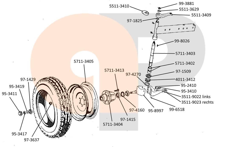 ungefederte schwache Vorderachse ( Durchmesser 40mm ) mit der Bereifung 6,00-16 und 6,50-16