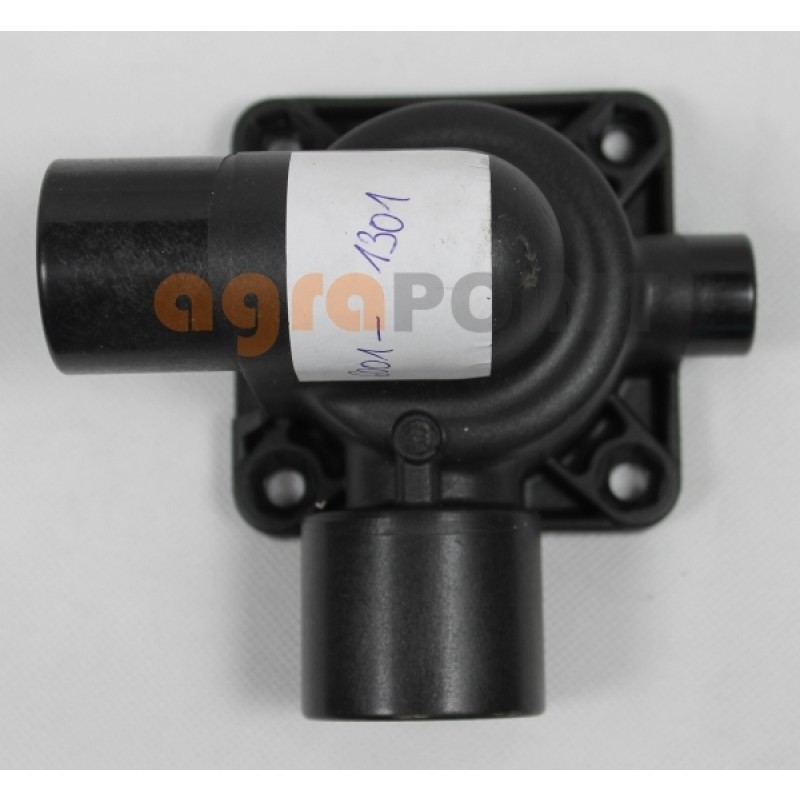 Gehäusehälfte für das Thermostat mit 2 Schlauchanschlüssen und einem Schraubanschluß für den Temperaturfühler passend für: Zetor Ersatzteilnummer: 60011301, 6001-1301